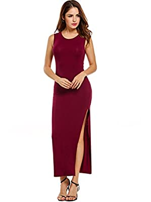 Women Summer Sleeveless Stretch Side Slit Racerback Tank Long Maxi Dress