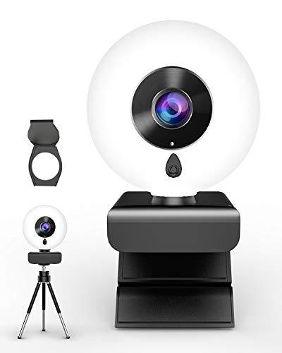 🥇 lesvtu Webcam con Micrófono y Anillo de Luz