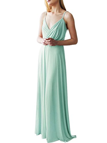 Length neckline with Floor Spaghetti Bridesmaids Dress AiniDress Mint Women's Straps V xAqcWn1I