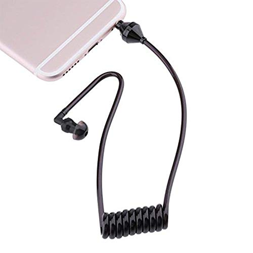 Tcplyn Premium Quality Single Listening 3.5mm Earphone Coiled Cables Mono Function Earpiece in Ear Stereo Headset Only for Listening