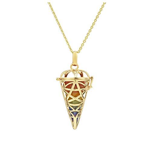 Jovivi 7 Chakras Healing Crystals Necklace Natural Gemstone Pentagram Locket Pendant Balancing Crystal Dowsing Divination Pendulums 28