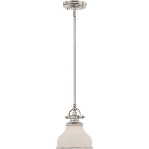 Quoizel GRT1508IS Grant Cone Glass Mini Pendant Ceiling Lighting, 1-Light, 100 Watt, Imperial Silver (10