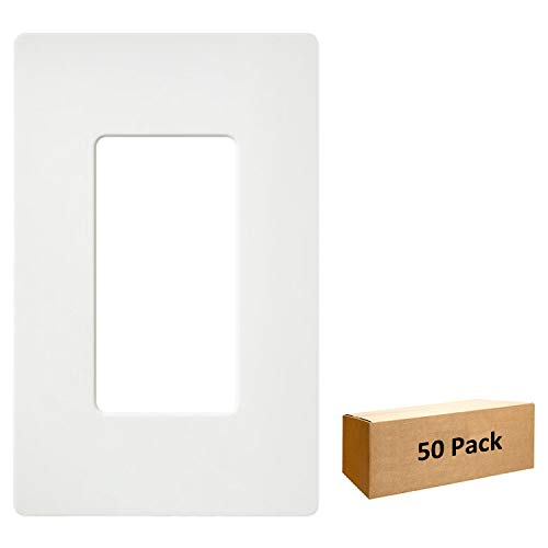 - [50 Pack] BESTTEN 1-Gang Screwless Wall Plate, USWP4 White Series, Slightly Larger Size Outlet Cover for Light Switch, Dimmer, USB, GFCI, Decor Receptacle, Residential and Commercial, UL Listed