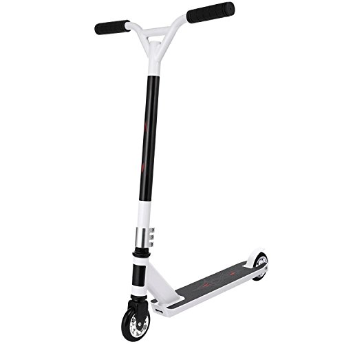 Lantusi Pro Kick Scooter, Folding Aluminum Alloy Freestyle Stunt Scooter with 360° Swivel wheels and Adjustable Height (2-White)