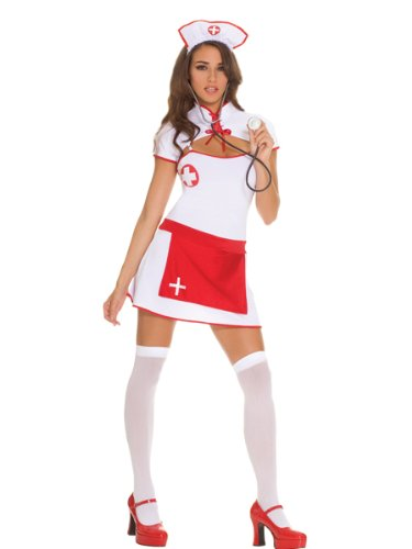 (Er Nurse- 4 Pc. Costume Includes Mini Dress With Attached Apron, Lace Up Shrug, Hat And Stethoscope (As Shown,Small))