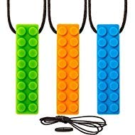 Breakaway Feature Cord (Sensory Chew Necklace Chewing Tool–(3 Pack with Extra Cord and Clasp) - Sensory Integration, Autism, ADHD–For Boys & Girls–Textured Silicone Teething and Biting (Orange Green & Blue))