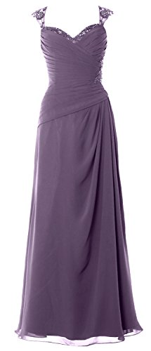 MACloth Women Cap Sleeves Long Mother of Bride Dress Open Back Party Formal Gown Wisteria