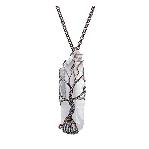 Jovivi Healing Crystal Necklace Wire Wrapped Raw Clear Crystal Quartz Tree of Life Pendant Gemstone Chakra Necklace for Women