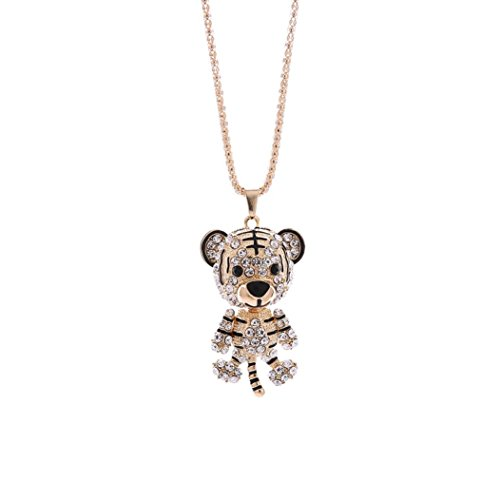 Deals Little Tiger Pendant Necklace Women Charm Colorful Cute Tiger Rhinestone Necklace Jewelry ZYooh ()