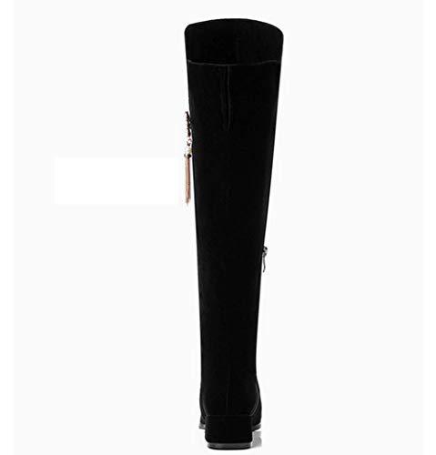 Largas Mujer Caballero 4 Gamuza Invierno Botas Shiney Para Cm Otoño Black Rodilla Femenino Sobre La zCZxqg