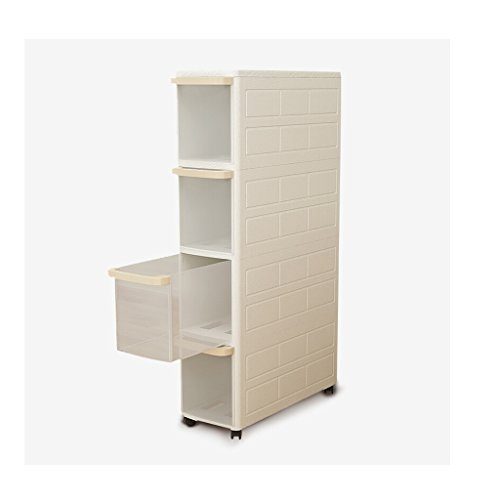 WAN SAN QIAN- Shelf Modern Simple Chuck Cabinets Kitchen Refrigerator Gap Wheel Locker Snack Storage Shelf White Shelf ( Size : 4 layer ) by Shelf