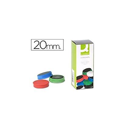 Q-Connect Imanes Para Sujeción Ideal Para Pizarras Magnéticas 20 Mm 5 Colores Surtidos Caja De 10 Imanes