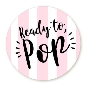 (Stripe Ready to Pop Stickers | 48 Stickers | Ready To Pop Baby Shower Stickers for Popcorn | 1.67 Inches | Ready to Pop Stickers for Boy and Girl (Pink))