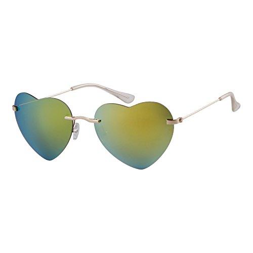 Kelly Femmes coeur monture Sunglass Green fille de ADEWU sans en de plage forme lunettes dXxwd47q