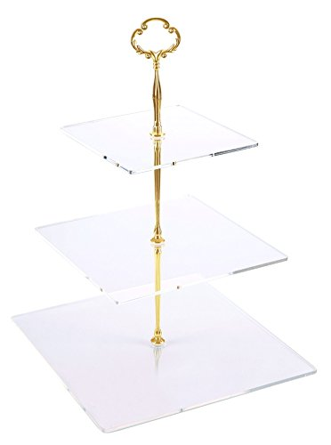 Jusalpha 3 Tier Strong Acrylic Square Cupcake Stand, Dessert Display Tower (Gold Version 2, 1) 3SG-V2 Gold Flat Cake Plate