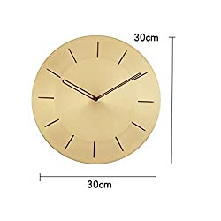 BJL Wall Clock, Clock, Pure Copper Living Room, Home Hanging Table, Simple Nordic Clock, Three Optional 30cm Modern Wall Clock (Color : B)