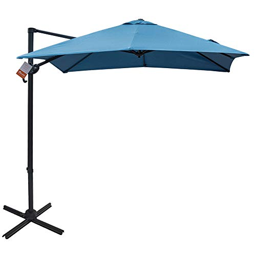 Sundale Outdoor 8.2ft Square Sunbrella Fabric Offset Hanging Umbrella Market Patio Umbrella Aluminum Cantilever Pole with Crank Lift, Corss Frame, 360°Rotation, for Garden, Deck, Backyard (Sky Blue) ()