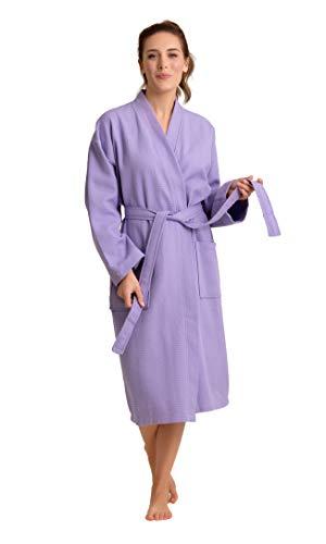 Women's Robe, 100% Turkish Cotton Long Waffle Spa Bathrobe, Diamond Pattern (Medium, Lavender)