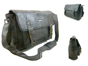 Para hombre para mujer, bolso de hombro de piel bolsa Messenger de piel Unisex bolsa de viaje de trabajo, marrón negro