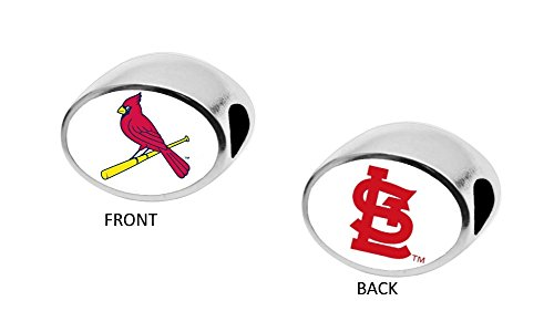 Two Sided Fan Flag - St. Louis Cardinals 2-Sided Bead Fits Most Bracelet Lines Including Pandora, Chamilia, Troll, Biagi, Zable, Kera, Personality, Reflections, Silverado and More Charm Bead Fits Pandora Style Bracelets