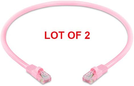 Pink Cmple Cat5e 350 MHz Snagless Patch Cable - Pack of 2 1.5 Feet