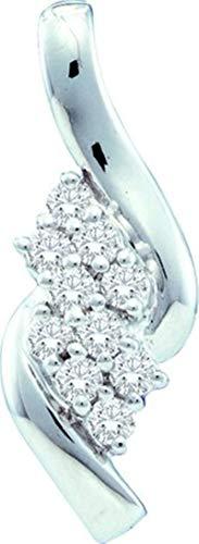 Aienid 14Kt White Gold 0.25ct Round Diamond Ladies Pendant