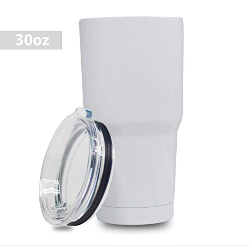 5 Star Stuff 30 oz Tumbler, 100% Stainless Steel Double Wall Vacuum Insulated Cup with Lid - White