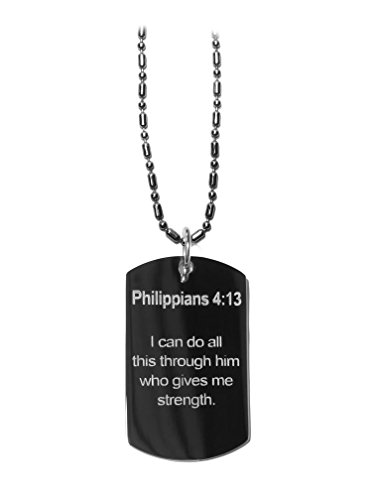 Phillippians 4:13 Bible Verse - Luggage Metal Chain Necklace Military Dog Tag