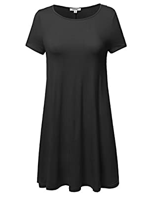Awesome21 Women's Short Sleeve Stretchy Loose Fit Casual Tunic Dress