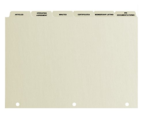 Index Divider Tabs (LLC)- 6 Tabs, 110 lb Index Stock with 3 reinforced holes (25 sets) by CorpKit Legal Supplies