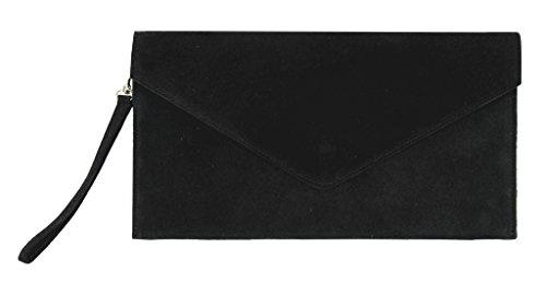 BHBS Bolso para Dama tipo Sobre de mano en Cuero Gamuzado Italiano Auténtico 30.5 x 16 cm (LxA) negro