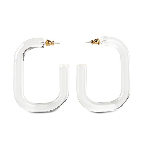 Classic Geometry Resin Statement Earrings and Bohemia Acrylic Resin Rectangle multicolour clear Earrings by the F&G (Transparent white)