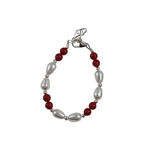 Crystal Dream Red Pearls with Scattered White Rice Pearl and Silver Bead Toddler Bracelet (B1820_M) ()