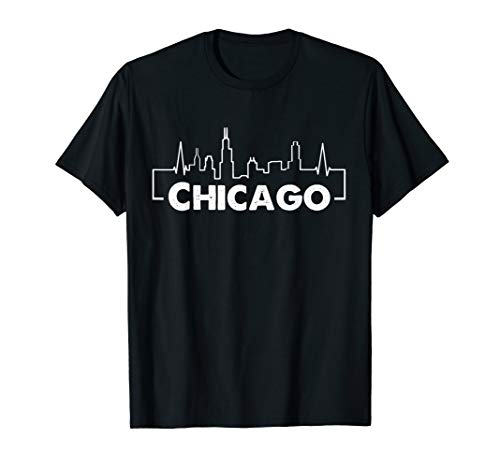 Chicago Illinois City Heartbeat T-Shirt For Men Woman ()