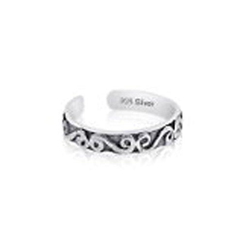 - Unique Sterling Silver 925 Antique Vine Design Toe Ring. Nickel Free Adjustable Fit Solid Band