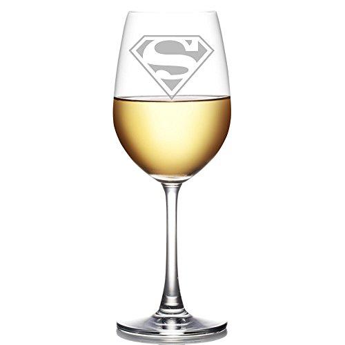 Abby Smith, Superman Engraved 18 oz Wine Glass