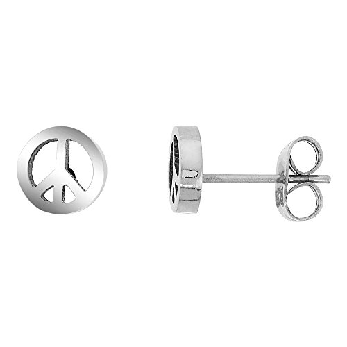Small Stainless Steel Peace Sign Stud Earrings 3/8 inch