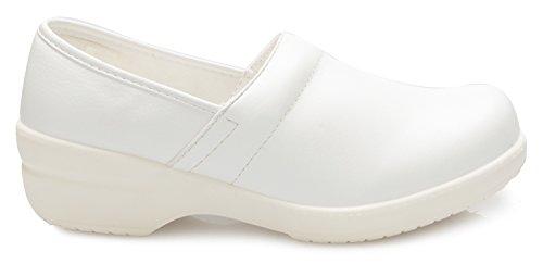 Olivia K Donna Vestibilità Comoda Antiscivolo Resistente Alluniverso Lavoro Uniforme Scolastica Scarpe Flatform Bianco Pu