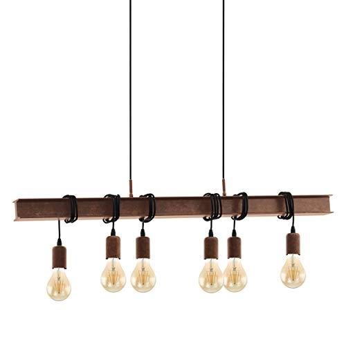Lámpara colgante EGLO Townshend, 6 focos, estilo industrial, retro, de acero, color: marrón antiguo, casquillo E27