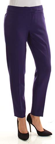 Anne Klein Womens Slim Fit Flat Front Khaki Pants Purple ()