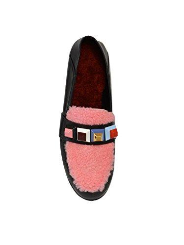 Fendi Mujer 8D623186YF02HX Negro/Rosa Cuero Mocasín