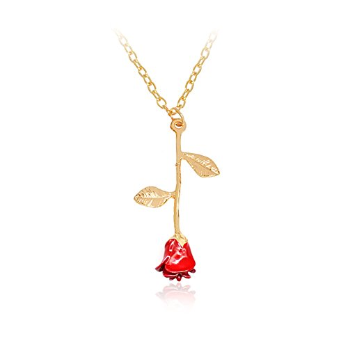 Birthstone Rose (Charm 3D Red Rose Flower Pendant Necklace, Romantic Rose Gift For Women, Beauty and the Beast Rose Jewelry, Gardeners Necklace (gold necklace))