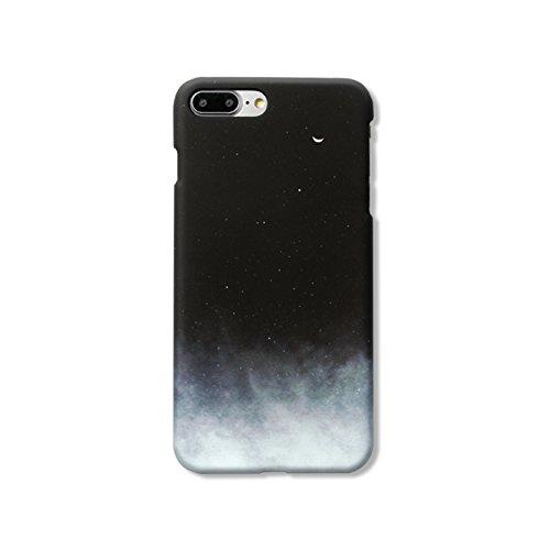Black White Retro Classic Simple Starry Sky Nebula Moon Cloud Fog Gradient Color Unique Creative Ultra-light Super Durable Full Protective Hard Case Cover (iPhone 7/8 Plus - Black Gradient White