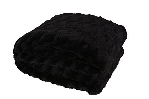 Reversable Fur - Longrich Faux Fur Black Sherpa Reversable Throw Blanket, 70