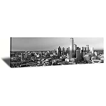 JiazuGo-B&W Panoramic Cities Dallas Skyline Modern Art Work Cityscape Pictures Paintings on Canvas Wall Art Wall Pictures for Bedroom Art Home Decorations Office Decor Ready to Hang 14