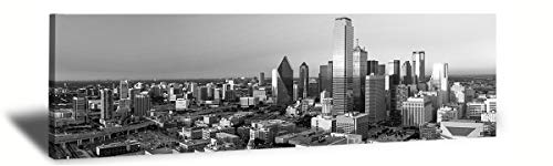 "LP LIFE ART-B&W Panoramic Cities Dallas Skyline Modern Art Work Cityscape Pictures Paintings on Canvas Wall Art Wall Pictures Bedroom Art Home Decorations Office Decor Ready to Hang 14""x48"""