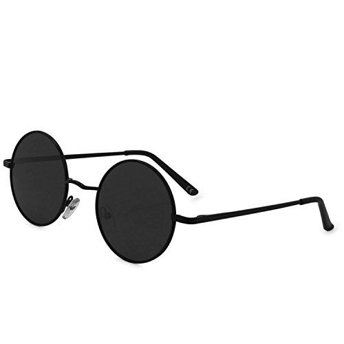 De Lente Polarizadas Clásico Redondo Negro Marco Gris Gafas Moda AMZTM Sol qxFAwI44