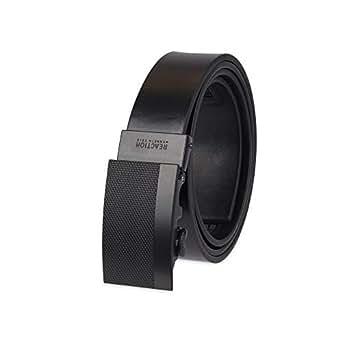 Kenneth Cole REACTION Men's Perfect Fit Adjustable Click Belt, Black Matte, Small (32-34)