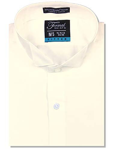 - Luxe Microfiber Men's Fitted Wing Collar Convertible Cuff Tuxedo Shirt - Style Frankie Ivory