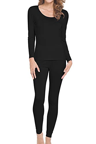 WiWi Womens Bamboo Thermal Underwear Long Johns Sets S-XL, Black, S